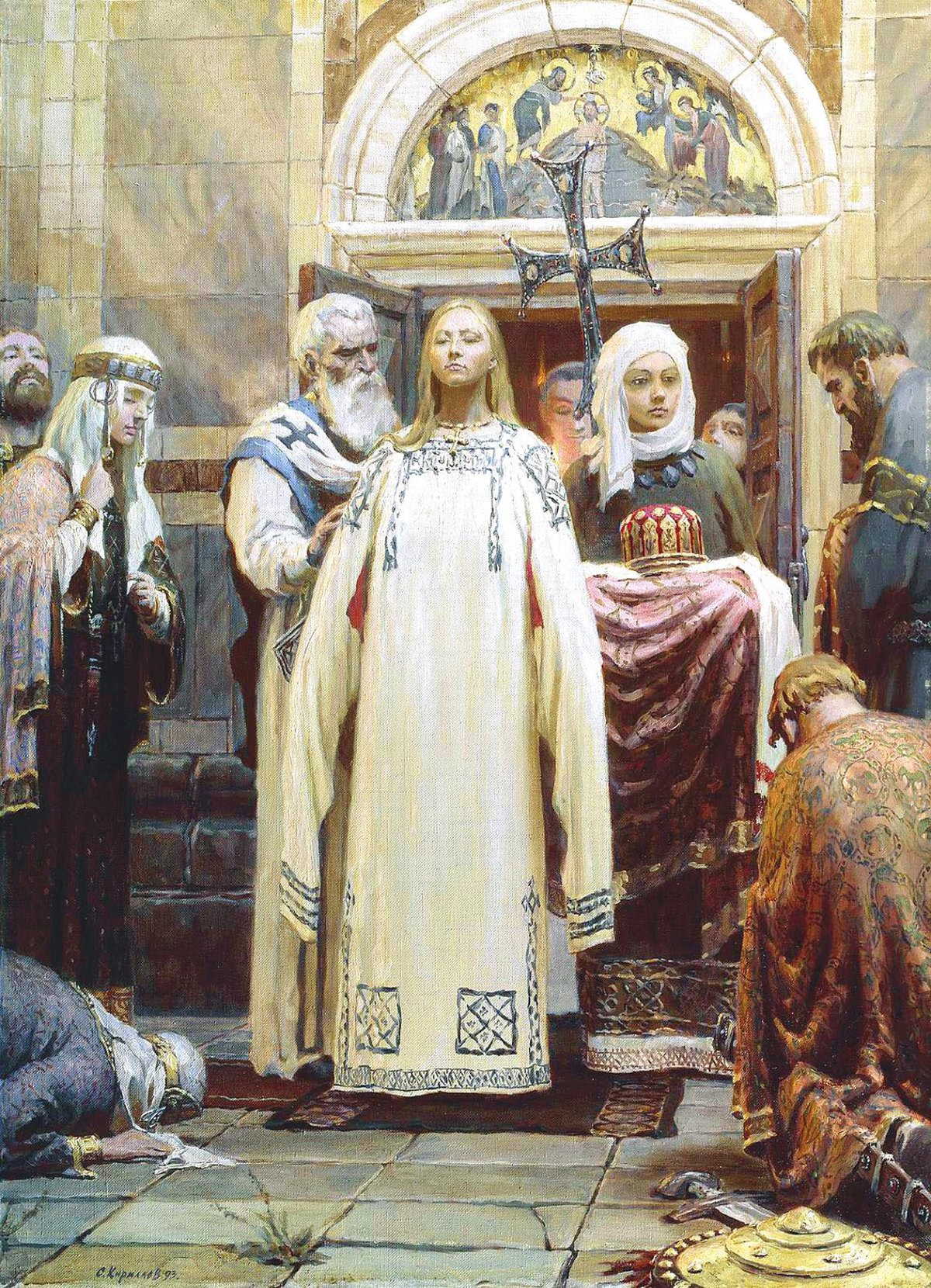 Sergei Kirillov. The Baptism of Grand Princess St Olga. Part 1 of the Triptych 'Holy Rus'. 1993