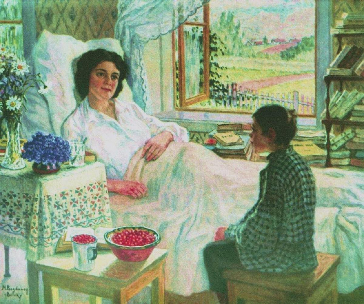nikolai-bogdanov-belsky-with-her-sick-teacher-1920s