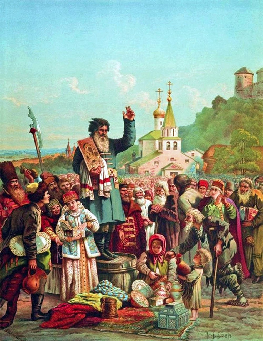 Konstantin Makovsky. The Call to Arms of Kuzma Minin in Novgorod in 1611. nd. 1860s