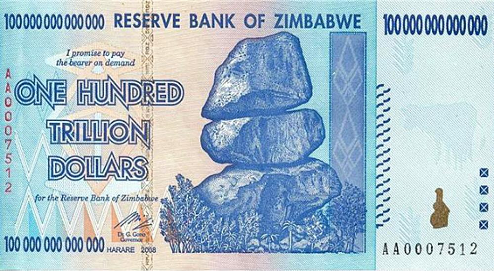 Bank Notes 100 Trillion Zimbabwe