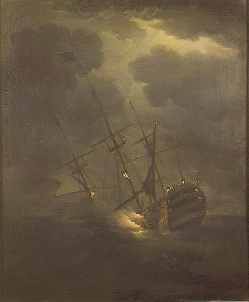 Peter Monamy. The Sinking of HMS Victory on 4 October 1744. 1745