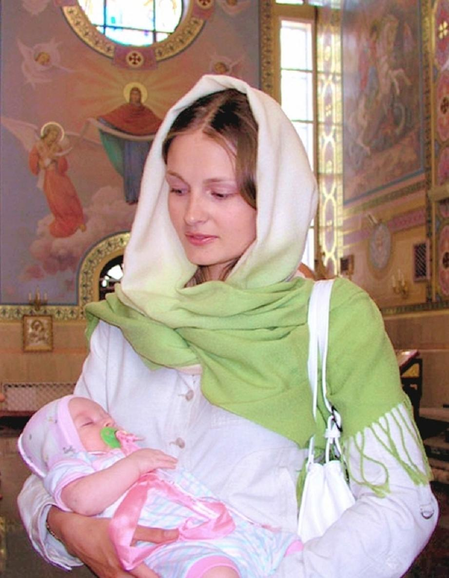 Russian woman with child