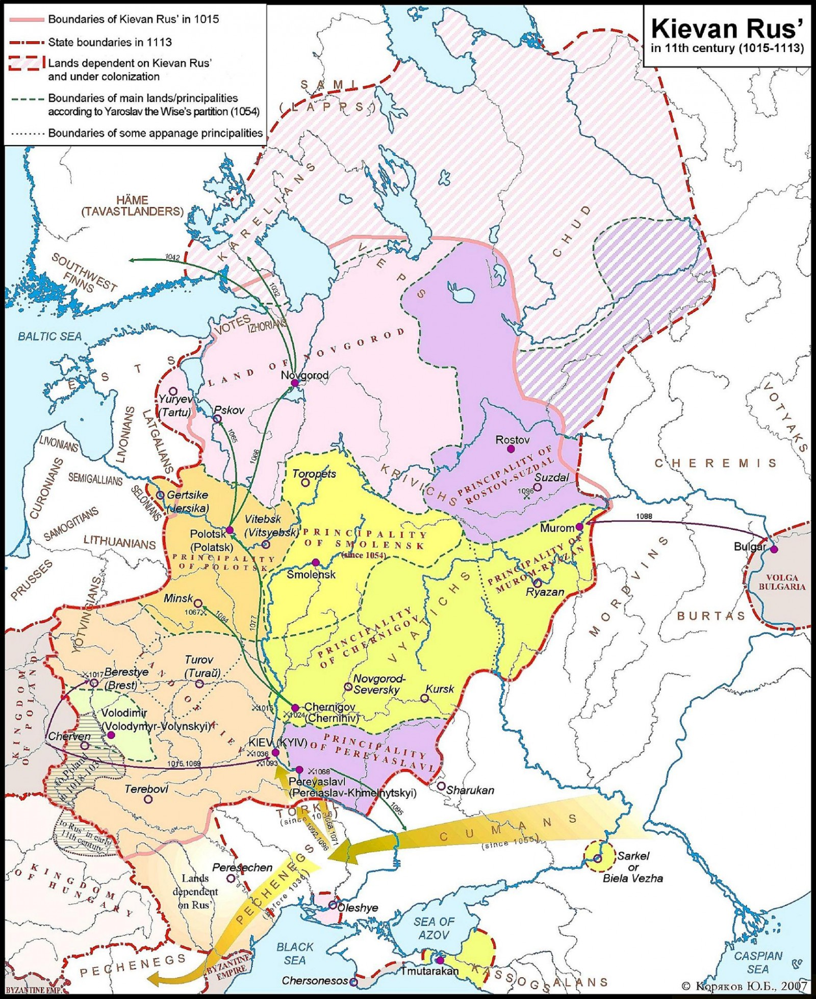 A Map of Kievan Rus in the Eleventh Century | Voices from Russia