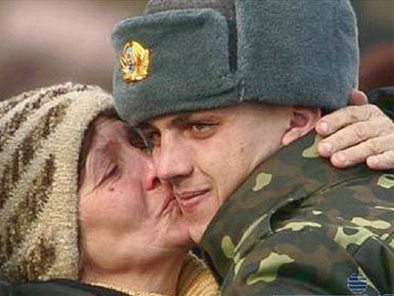 russian soldier with mother