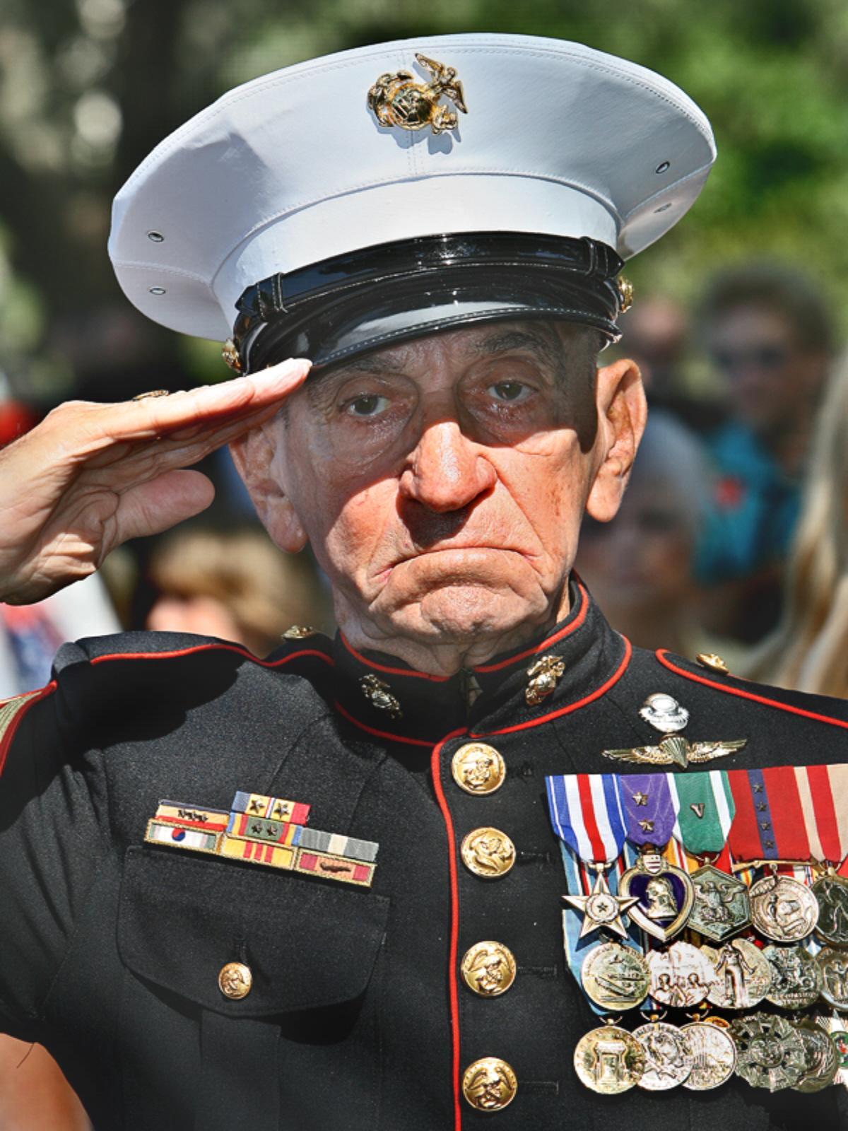 A USMC vet salutes his fallen