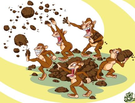 Image result for monkeys throwing shit