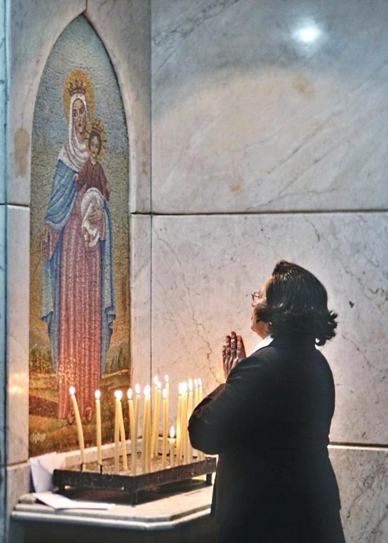 00 Prayer in an Orthodox Church in Cairo. Orthodox Woman