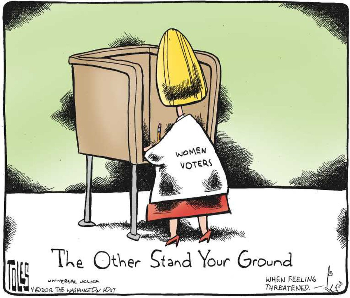 00 Toles. Women Voters. The Other Stand Your Ground. 06.12