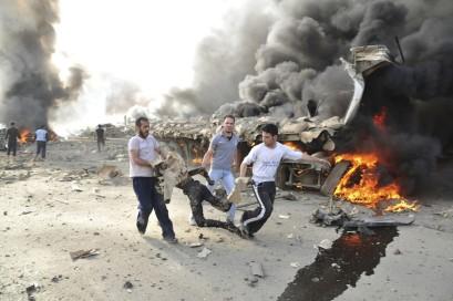 Bombenanschlag in Damaskus, Bergung eines Toten