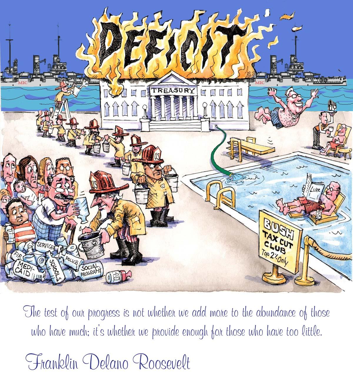 00 Political Cartoon. 08.12. Deficit. FDR quote