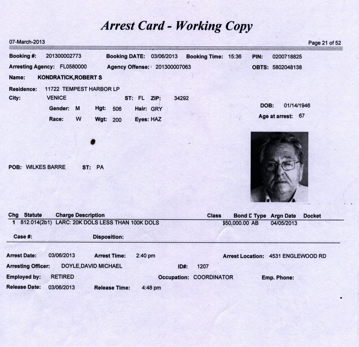 00 Bobby K arrest card. 15.03.13