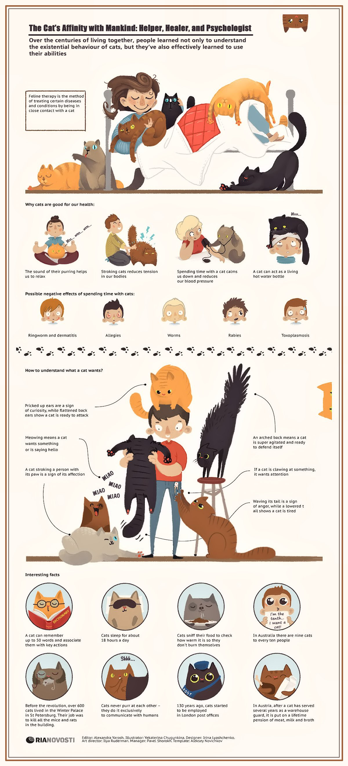 00 RIA-Novosti Infographics. The Cat's Affinity with Mankind. Helper, Healer, and Psychologist