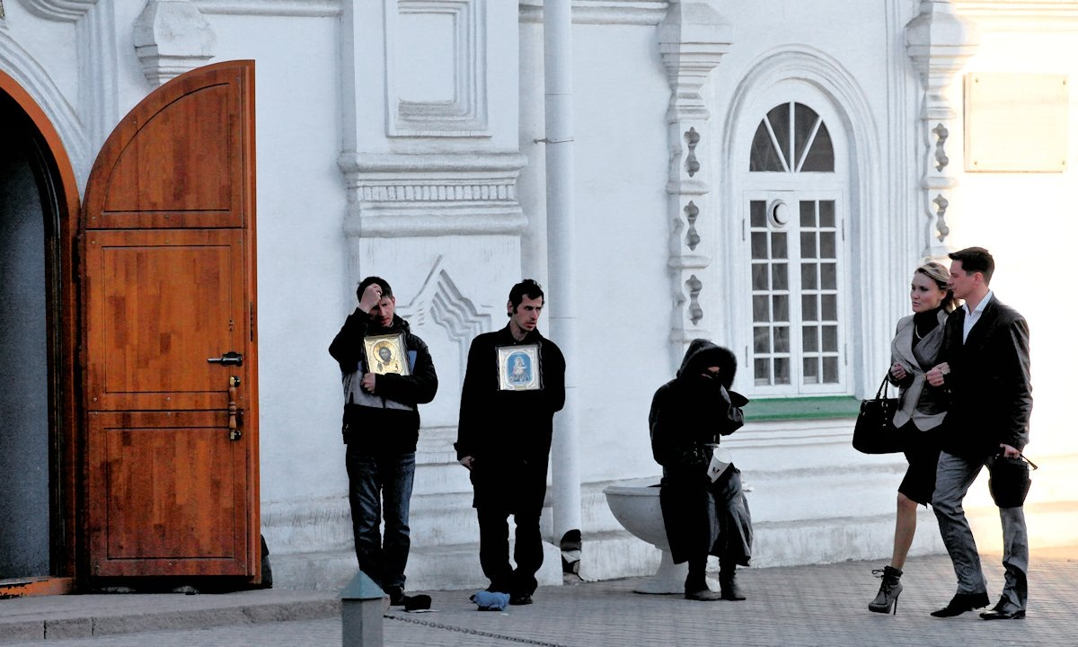 00 Beggars outside church in Krasnoyarsk. RUSSIA. 14.04.13