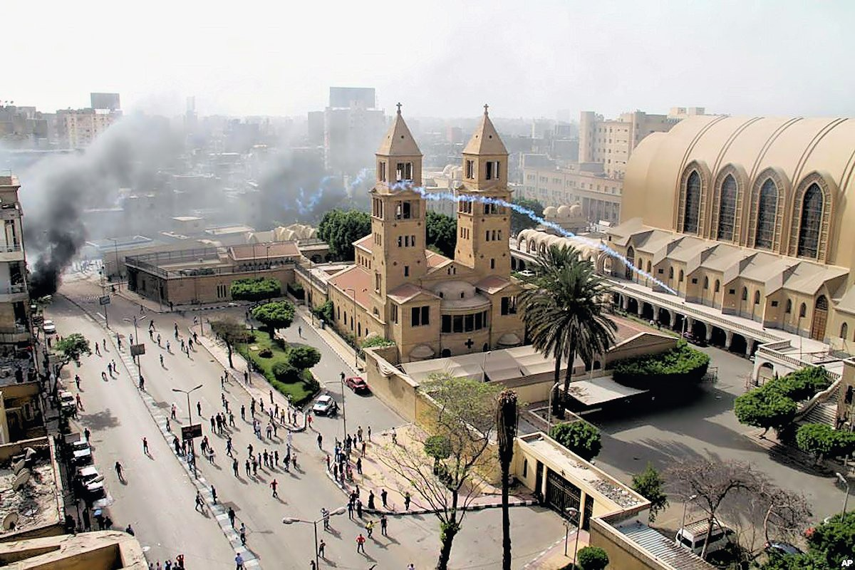 00 Riot Police. Cairo EGYPT. Coptic Cathedral. 08.04.13