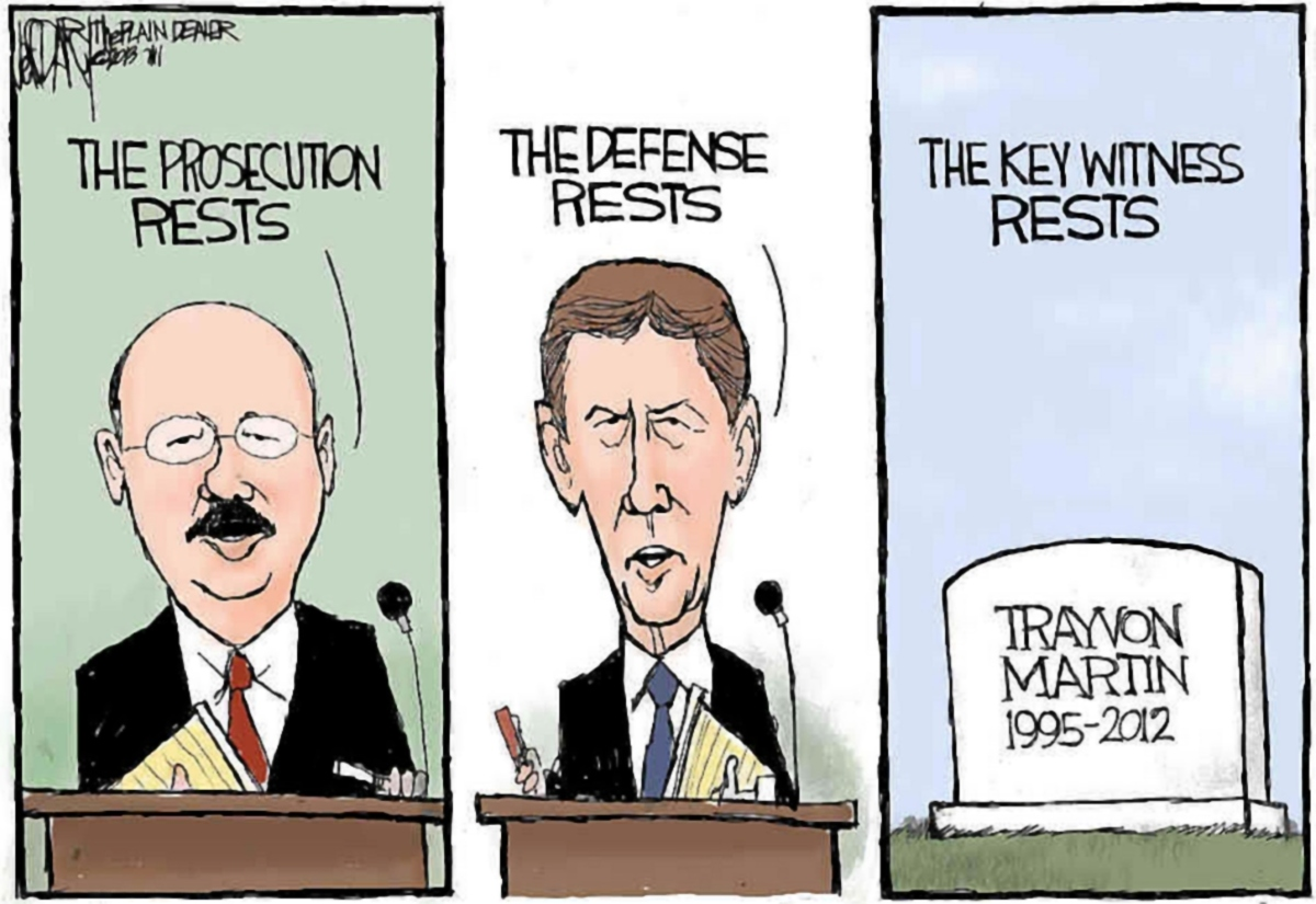 00 Trayvon Martin. Zimmerman cartoon. 14.07.13