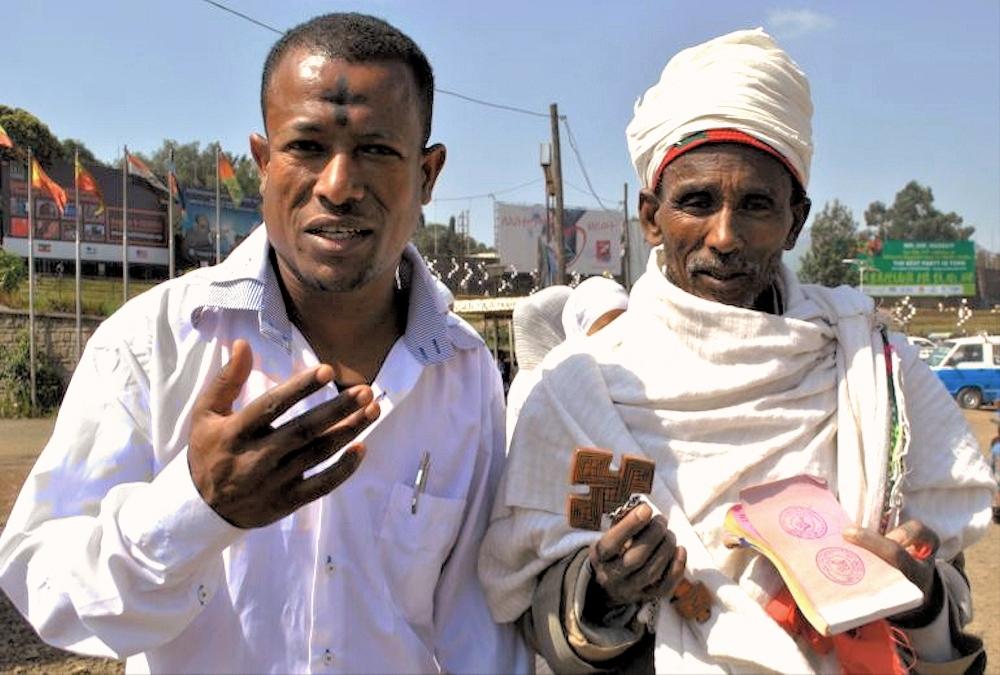 00 Ethiopia. Meskel. Orthodox Christian with cross. 27.09.13