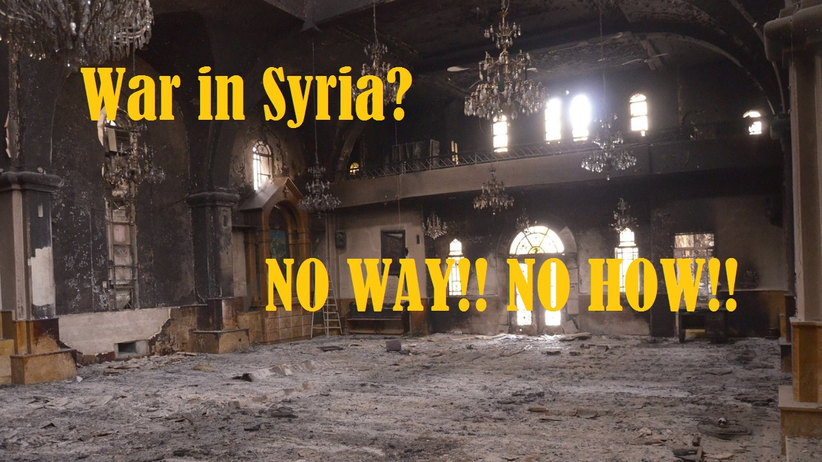00 War in Syria. No Way No How. wrecked Syrian church. 06.09.13