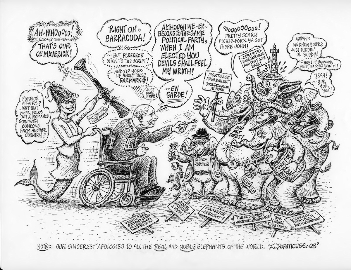 00 John McCain and Sarah Palin. USA. political cartoon. 06.10.13