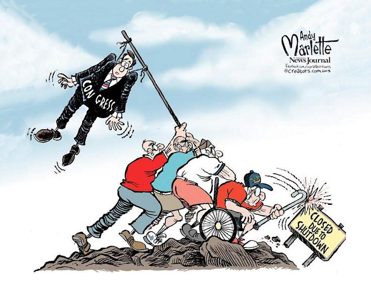 00 US government shutdown. political cartoon 2. 17.10.13