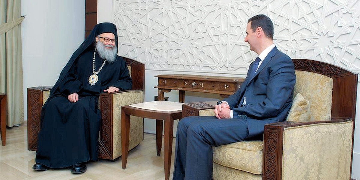 00 Patriarch Youhanna of Antioch with Pres al-Assad. 05.12.13