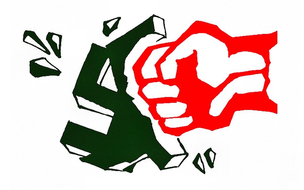 00 KPRF. Red Fist Smashes Nazi Swastika. 02.03.14