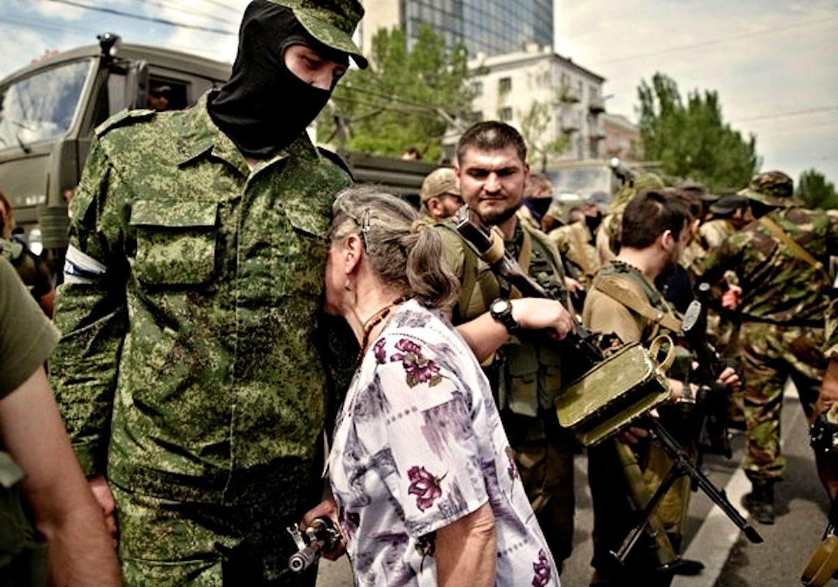 00 donetsk. novorossiya. mother with son. 26.05.14