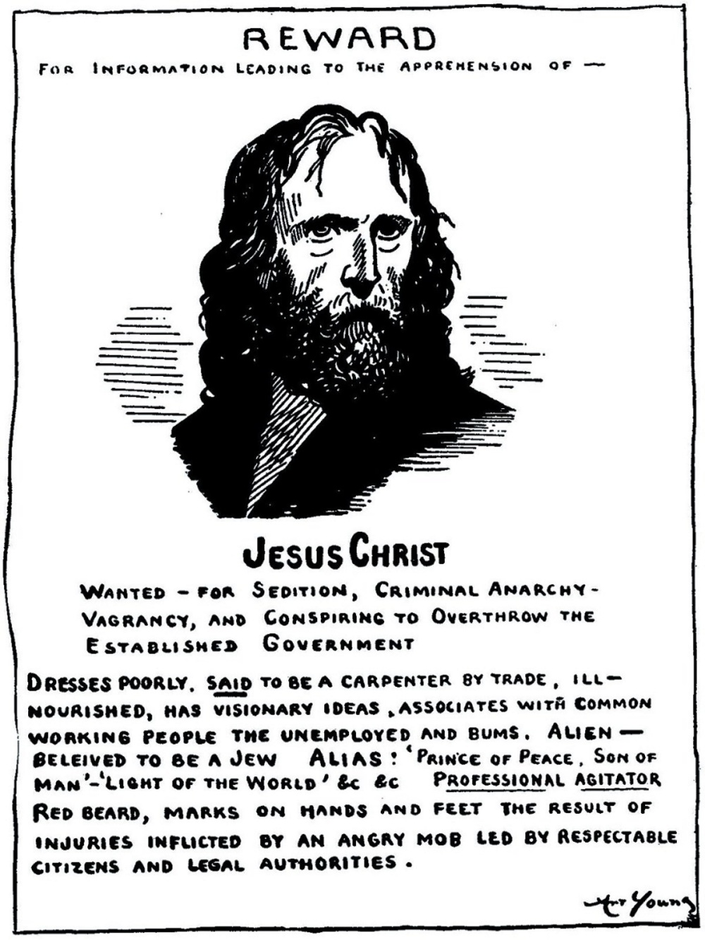 00 Art Young. Jesus wanted poster. He stirreth up the people. 1913
