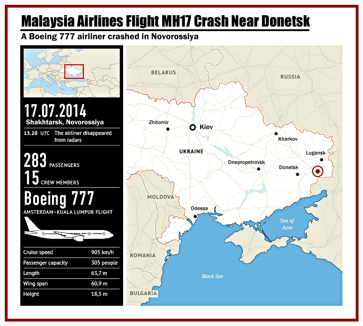 00 Rossiya-Segodnya Infographics. Malaysia Airlines Flight MH17 Crash Near Donetsk. 2014