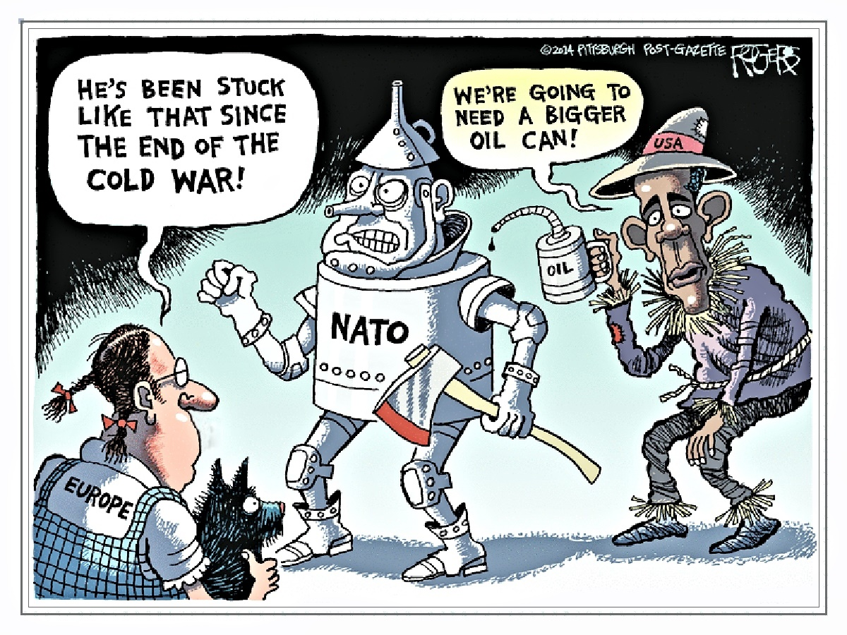 00 Rob Rogers. NATO. He's Been Stuck Like That AInce the End of the Cold War. 19.10.14