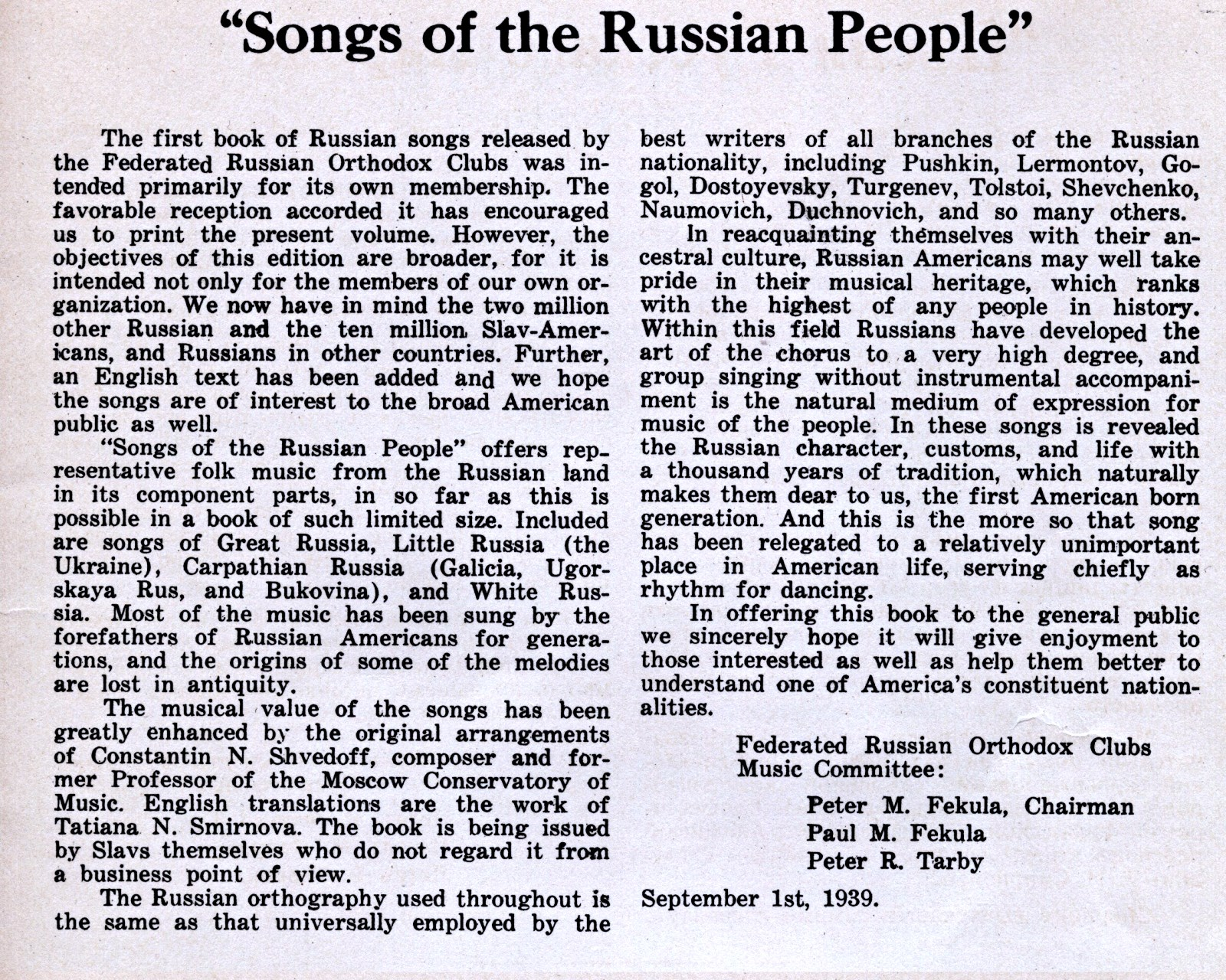 songs of the russian peoples