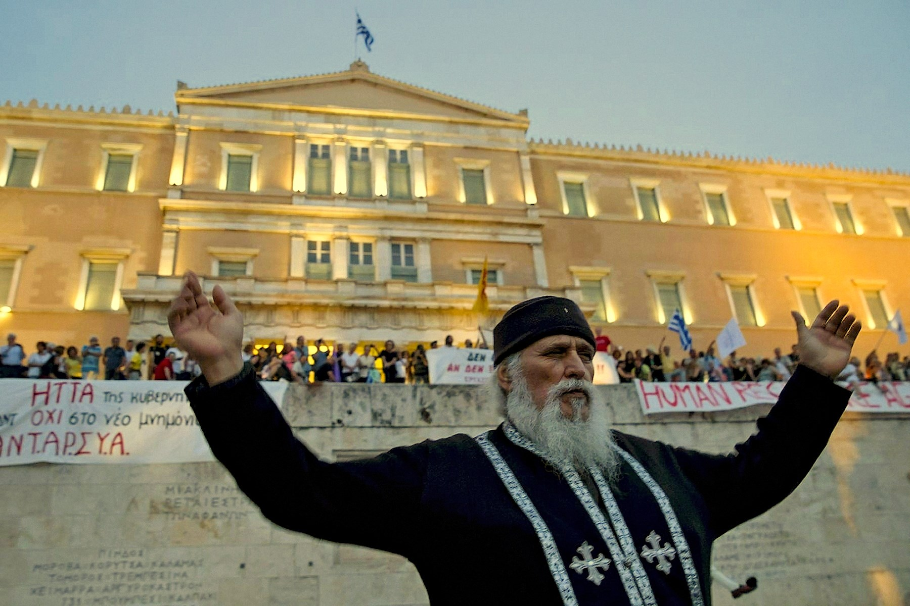 00 a rowdy greek monk at anti-austerity protest. 220615