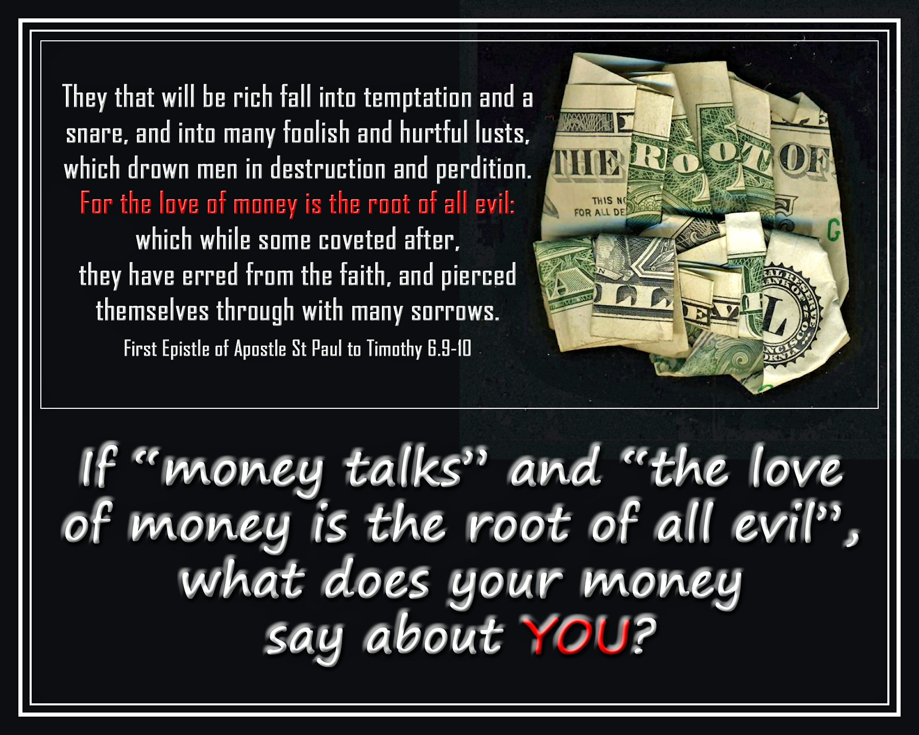 "money is the root to all evil essay ""greed"" the root of all evil sprung from blake - evansville in society today we our taught money i is status weekly podcast of featured essays."