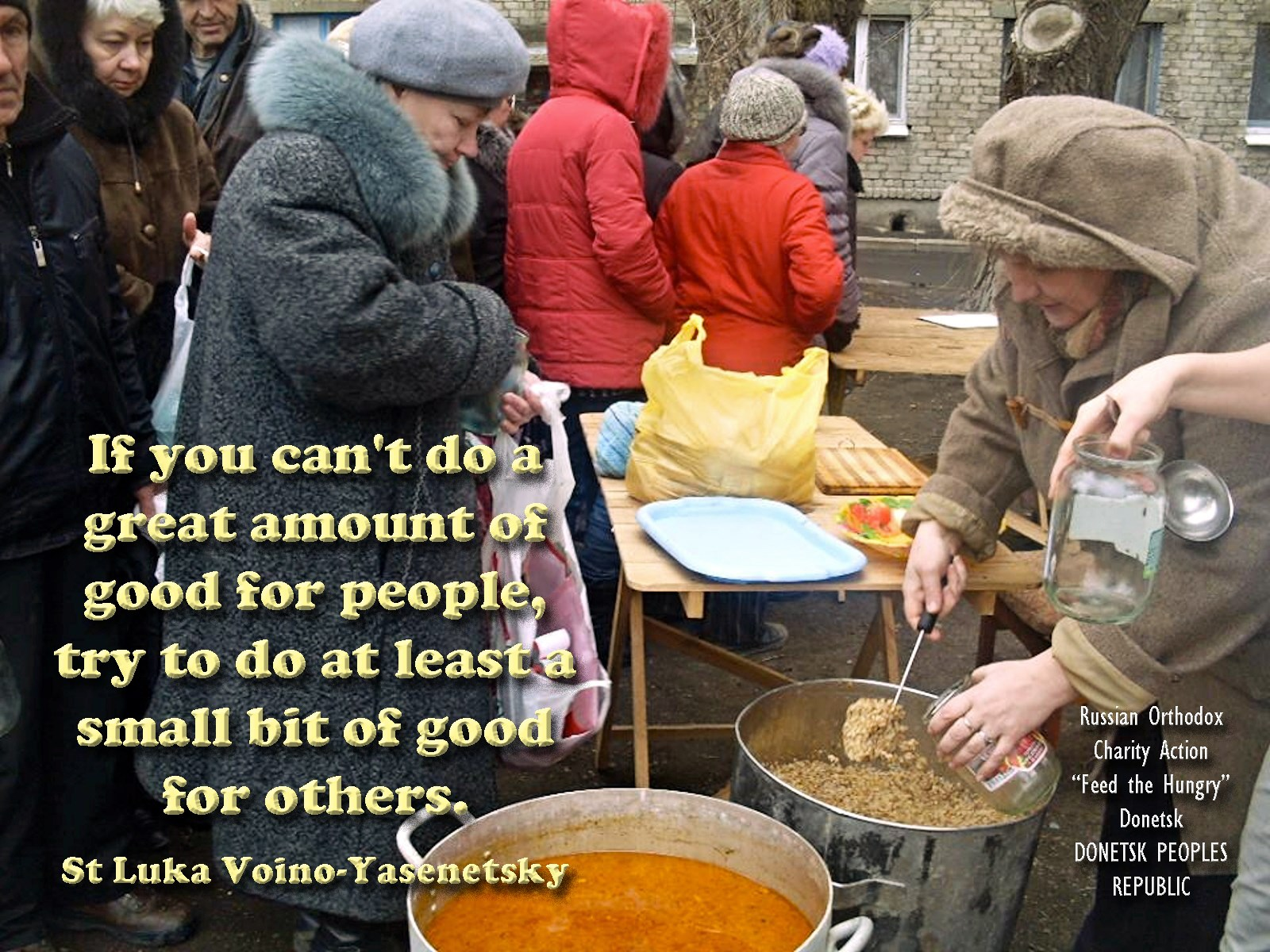 00 charity action feed the hungry in donetsk. st luka. 280815