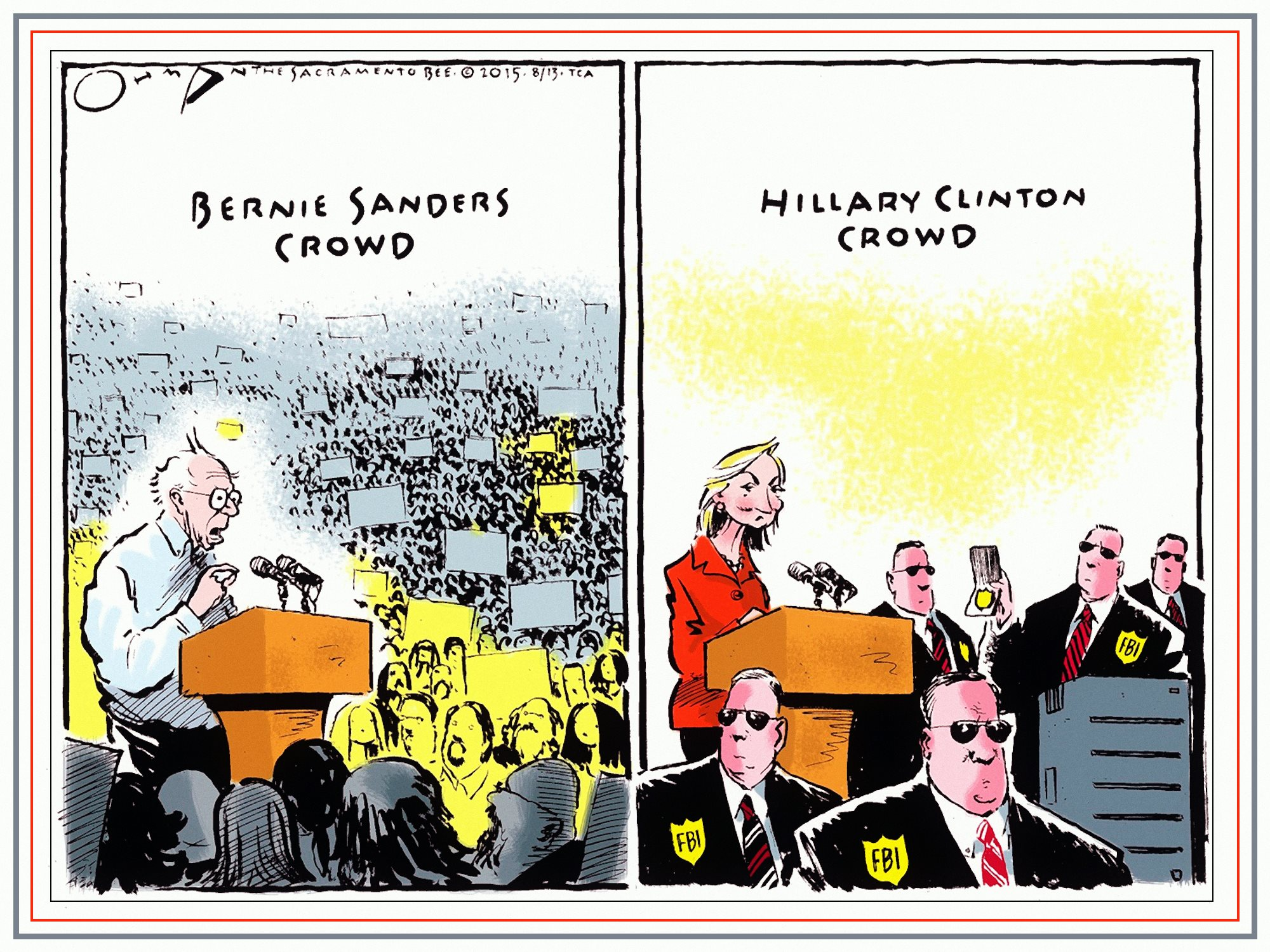 00 Jack Ohman. Bernie Sanders Crowd... Hillary Clinton Crowd. 2015