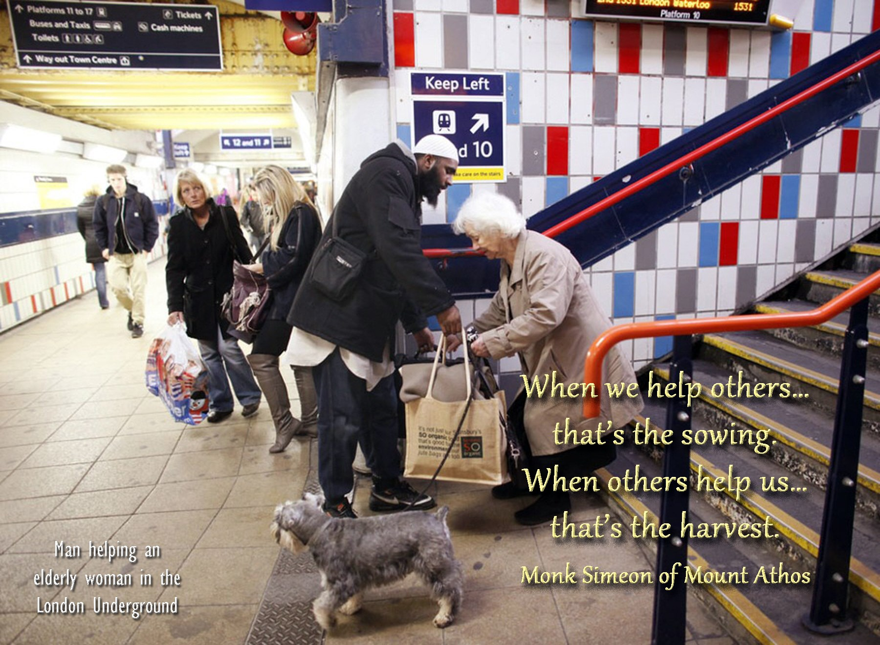 00 man helping old lady in the london underground simeon of mt athos 280815