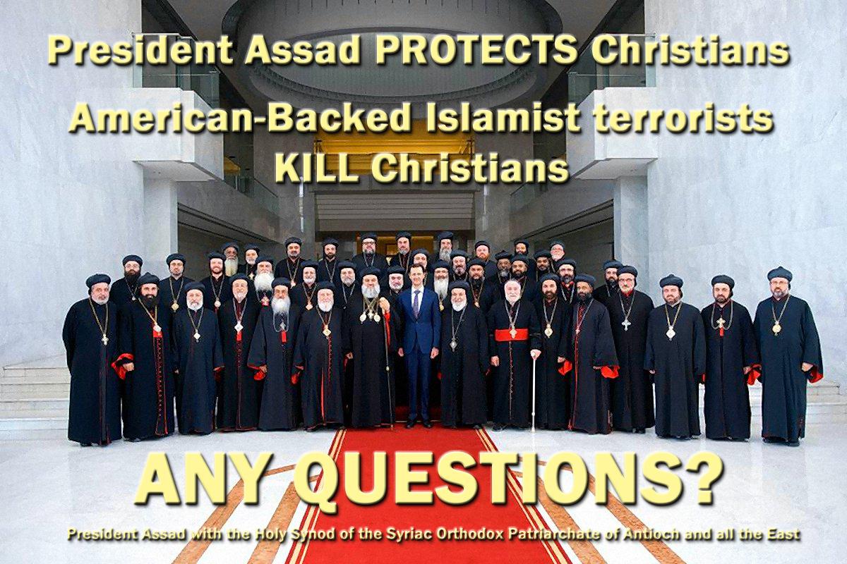 00 syria assad with Holy Synod of the Syriac Orthodox Church 111215